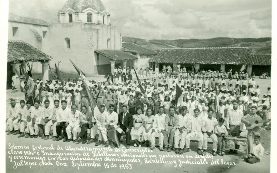 Abanderamiento de conscriptos clase 1936 e inauguración de Pabellones Nacionales. Jaltepec, Nochixtlán, Oaxaca